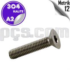 paslanmaz çelik 304 kalite inox a2 havşa başlı imbus civata metrik 12