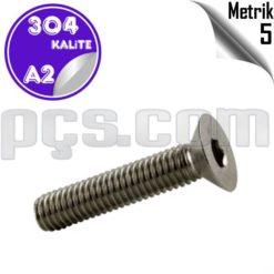 paslanmaz çelik 304 kalite inox a2 havşa başlı imbus civata metrik 5