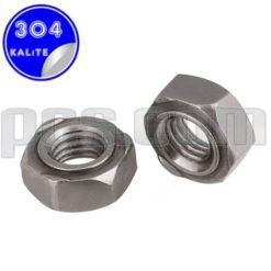 paslanmaz çelik 304 kalite inox a2 altı köşe kaynak somunu