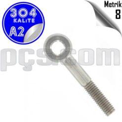 paslanmaz çelik 304 kalite inox a2 gözlü civata metrik 8