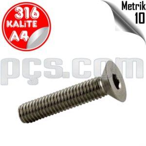 paslanmaz çelik 316 kalite inox a4 civata metrik 10