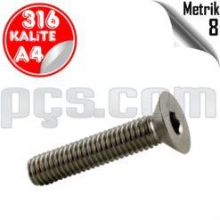 paslanmaz çelik 316 kalite inox a4 havşa başlı civata metrik 8