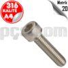 paslanmaz çelik 316 kalite inox a4 imbus civata metrik 20