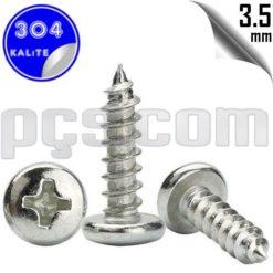 paslanmaz çelik 304 kalite inox a2 ysb sac vidası 3,5 mm