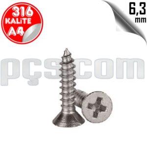 paslanmaz çelik 316 kalite inox a4 yhb havşa başlı sac vida 6,3 mm