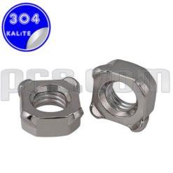 paslanmaz çelik 304 kalite inox a2 kare kaynak somunu