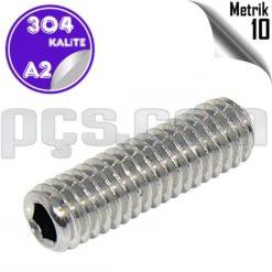 paslanmaz çelik 304 kalite inox a2 metrik 10 setskur
