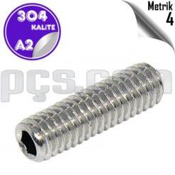 paslanmaz çelik 304 kalite inox a2 metrik 4 setskur