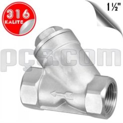 paslanmaz çelik 316 kalite 1 1/2 inç y tipi yaylı çekvalf