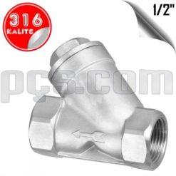 paslanmaz çelik 316 kalite 1/2 inç y tipi yaylı çekvalf