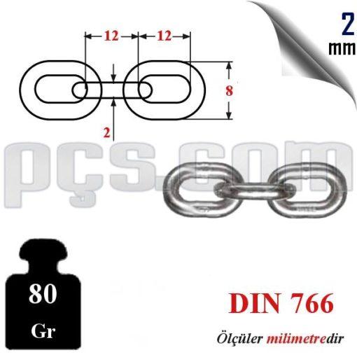 paslanmaz 2 mm baklalı zincir teknik bilgi ölçüleri