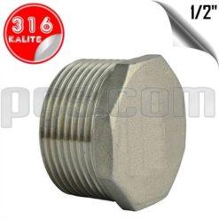 paslanmaz çelik 316 kalite 1/2 inç dıştan dişli kör tapa