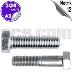 paslanmaz çelik 304 kalite inox a2 civata metrik 12